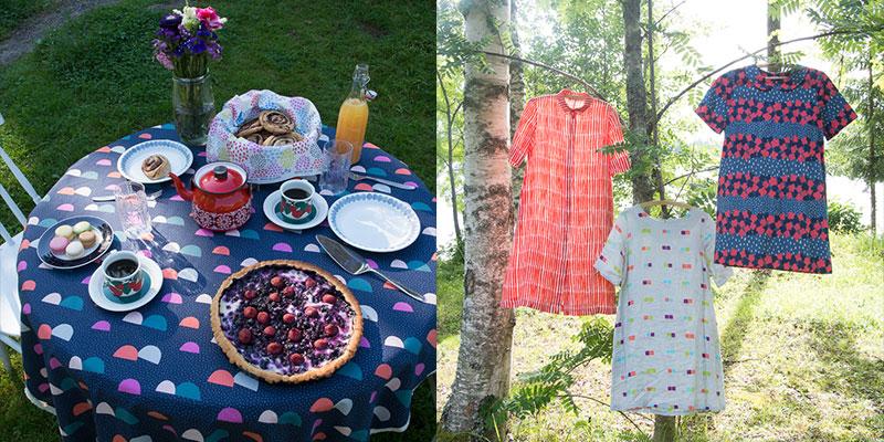 左:コッカで展開中の島塚さんのレーベル、「PIKKU SAARI(群島)」のカタログ写真。短い夏を愛しむ北欧のホームパーティーの様子がうかがえる。 / 右:左から「Coco」「Paripala」と、後にフィンランドのニーニスト大統領夫人も着用した「Kukkasde」柄のファッションアイテム。いずれのデザインもマリメッコで採用され、人気を博した。