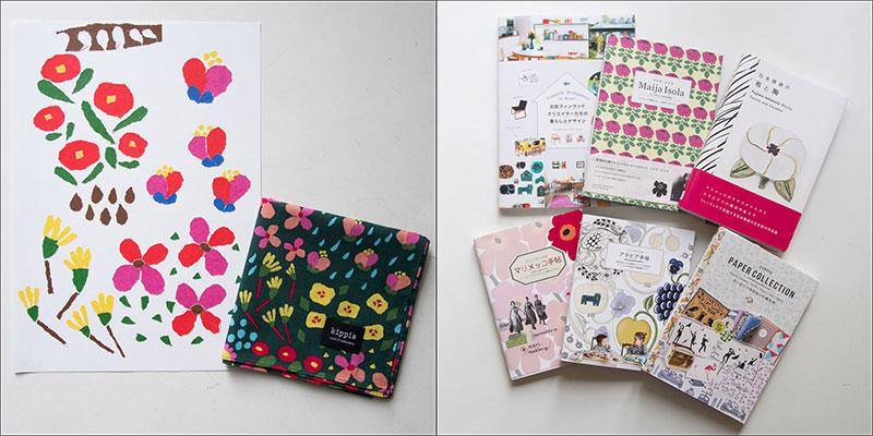 左:今注目の、日本の北欧ブランドkippisに提供したデザイン「Kukkiikukkii(花が咲く)」とその原画。花が咲き乱れる様子をちぎり絵で表現した。 / 右:マリメッコをはじめ、数々のフィンランドデザインにまつわる書籍の翻訳や執筆も手がけている。