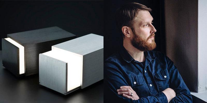 左:マッチ箱から着想を得て在学中に発表した「Box Lignt(ボックスライト)」は、国際的にも注目され、プロダクトデザイナーとして大きな足がかりとなった。右:インスピレーションの源は潜在意識から。この落ち着きがフィンランド人デザイナーらしいヨナス・ハカニエミ。画像提供:ヨナス・ハカニエミ