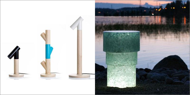 左:LED照明器具の製造元「Upwood design(アップウッド・デザイン)」にデザインした卓上ランプ。右:2014年にユヴァスキュラ市に提供したPollard(ポッラルド)公共ランプの原料はリサイクルガラス。画像提供:ヨナス・ハカニエミ