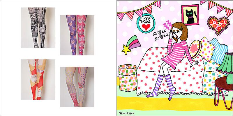 左:ワンピースとタイツから発売されたクラークさんデザインのタイツ。 / 右:イラストのなかのテキスタイルにもこだわりがつまっている。 ©Shiori Clark