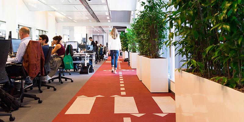 「自転車レーン」風のフロアのデザインは自転車大国オランダならでは。オフィスにはそれぞれの国の文化が反映されている。ちなみに、日本のオフィスは山手線をデザインしているとか。
