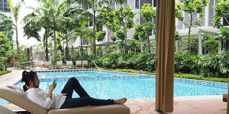 シンガポール住居のコンドミニアムでの休日