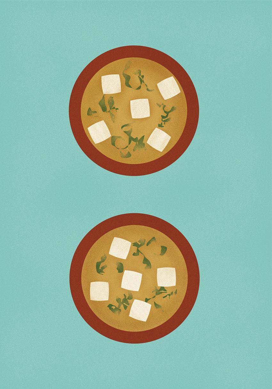 『JAGDA学生グランプリ2017』で優秀賞を受賞した勝森さんの作品(『みそしるコミュニケーション』)。「この年のテーマは『食』。食=コミュニケーションになると考え、親子の会話をイメージして制作しました。わかめが文字になっています」